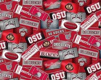 Ohio State Buckeyes License Plate 100% cotton fabric by the yard and half yard and other various lengths