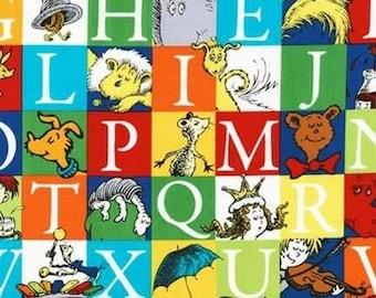Dr. Seuss Fabric ABC, Dr Seuss Characters, Robert Kaufman, 100% Cotton