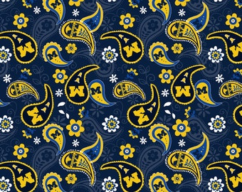 Michigan Wolverines Paisley 100% cotton fabric by various lengths