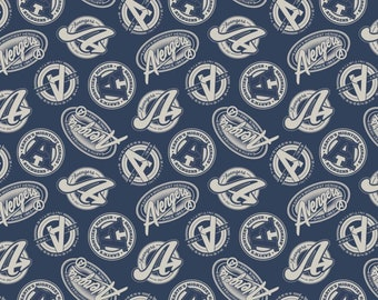 Avengers Marvel Logos Toss Navy Blue Fabric by the yard & other various lengths