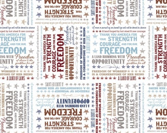 American Inspirational Sayings By John Wayne White Fabric by the yard and other various lengths