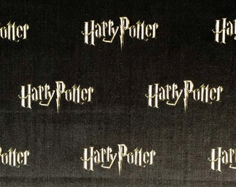 Harry Potter Fabric, Logo Black Digital Fabric, 100% Quilting Cotton, Camelot Fabrics, By the yard and other various lengths