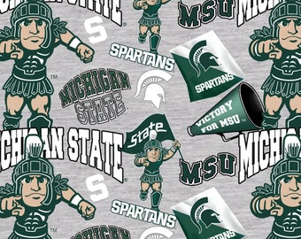Michigan State Spartans Digitally Printed Gray fabric by the yard and half yard and other various lengths