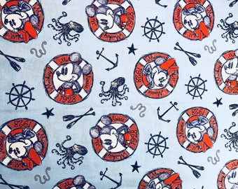 Disney Mickey & Minnie Sailing Since 1928 Fabric by the yard and half yard and other various lengths