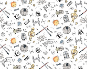 Star Wars Astro Pew Pew White Fabric by the yard and other lengths (Preorder/Arrival 7/1/20)