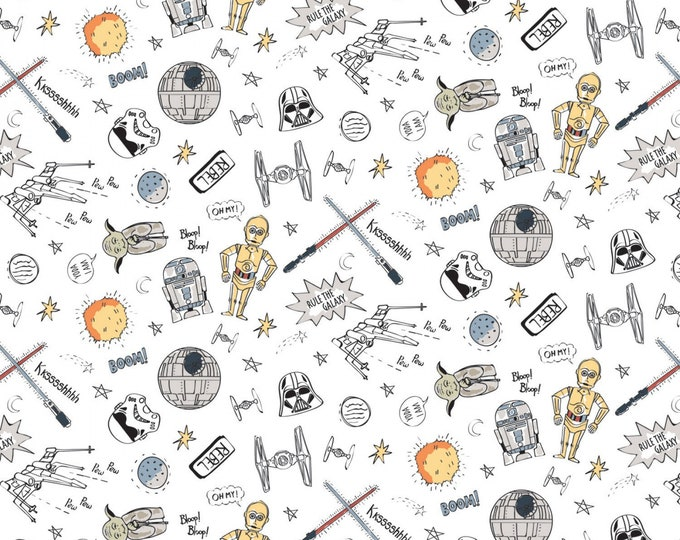 Featured listing image: Star Wars Astro Pew Pew White Fabric by the yard and other lengths (Preorder/Arrival 7/1/20)