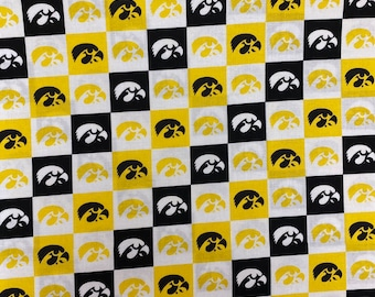 Iowa Hawkeyes Logo Fabric 100% cotton fabric by the yard and half yard and other various lengths