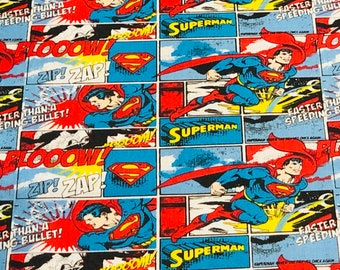 Superman Fabric Stripes by the yard or half yard and other various lengths