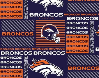 "Denver Broncos NFL Patchwork Fabric in various lengths by 59"" width"