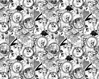 Disney Nightmare Before Christmas Tossed Fabric by the yard and half yard and other various lengths