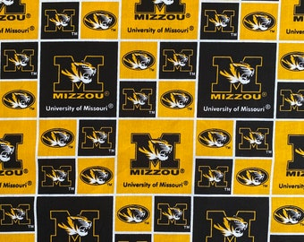 University of Missouri 100% cotton fabric by the yard and half yard and other various lengths