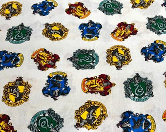 Harry Potter House Crest Fabric, HP House Logos Gryffindor, Ravenclaw, Hufflepuff, and Slytherin Fabric, Camelot Fabrics, Various lengths