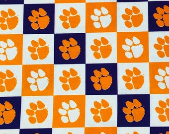 Clemson Tigers Logo 100% cotton fabric by the yard and half yard and other various lengths