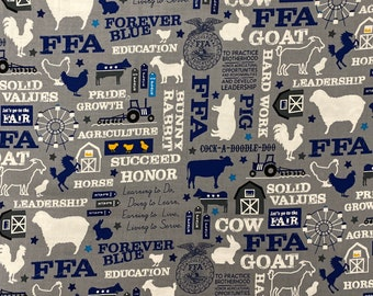 FFA Fabric, Future Famers of America Fabric Grey Fabric by the yard and other various lengths