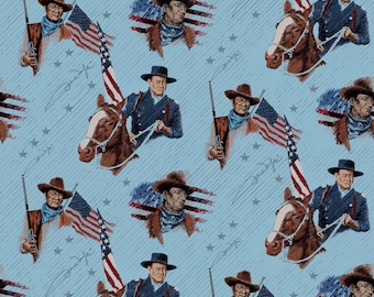 John Wayne Toss Blue Fabric by the yard and other various lengths