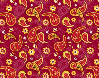 Iowa State University Cyclones Paisley Fabric 100% cotton fabric in various lengths