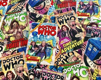Doctor Who Vintage Comicbook Covers Fabric in various lengths