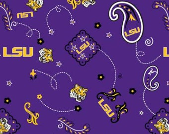 LSU Bandana Print  cotton fabric by the yard and half yard and other various lengths
