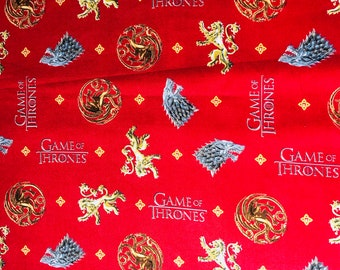Game of Thrones You Win Or You Die fabric by the yard and half yard and other various lengths