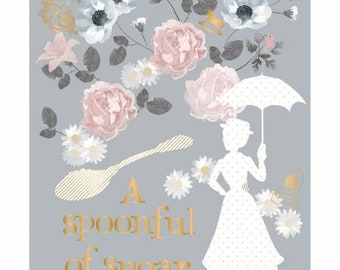 Grey Mary Poppins A Spoonful of Sugar 36in Panel w/Metallic