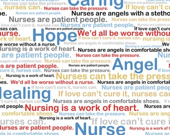 This Will Not Ship Until October 2020, Please Read Item Description On How To Order, Nurse Words Fabric in various lengths
