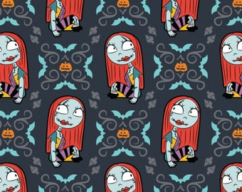 Pre-Order Nightmare Before Christmas Sally Fabric by the yard and other lengths (Preorder/Arrival July 2020)