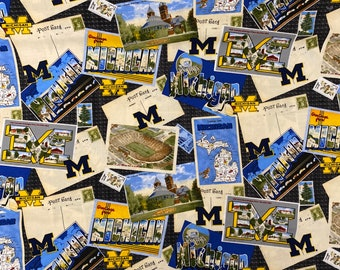 Michigan Wolverines Post Cards Cotton fabric by the yard and half yard and other various lengths