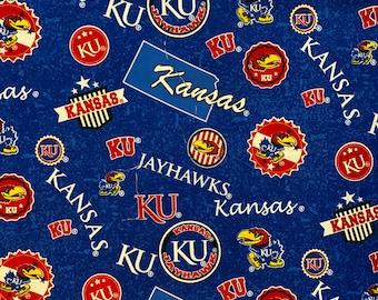 University of Kansas Toss 100% cotton fabric by various lengths