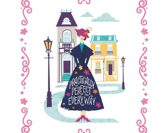 """Mary Poppins Practically Perfect Panel Disney Panel 36""""x44"""" By Camelot Fabrics (Presale/Preorder/Arrival 10/31/20)"""