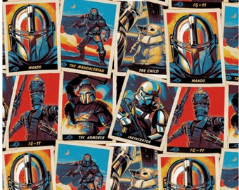 IN STOCK! Star Wars Mandalorian Trading Cards Stack Fabric in Various Lengths