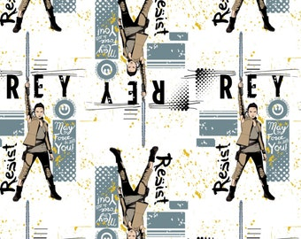 Star Wars The Last Jedi Fabric Rey in Lead From Camelot 100% Cotton  by the yard and other various lengths