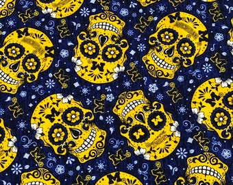 Michigan Sugar Skulls Cotton  fabric by the yard and half yard and other various lengths