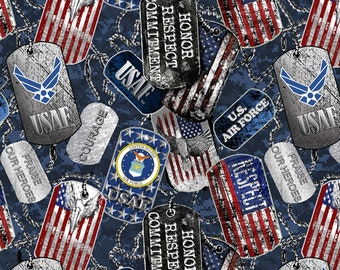 Air Force Military Dogtags Fabric in various lengths