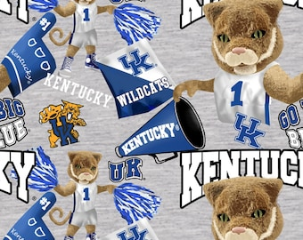 Kentucky Wildcats Gray fabric by the yard and half yard and other various lengths