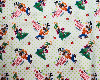 Disney Mickey & Friends Christmas Trim the Tree Fabric by the yard and half yard and other various lengths