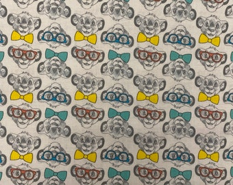 The Lion King Simba Bow Tie & Glasses Fabric by the yard and half yard and other various lengths