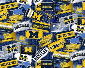 Michigan Wolverines License Plate Cotton fabric by the yard and half yard and other various lengths