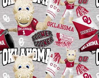 University of Oklahoma Grey 100% cotton fabric by various lengths