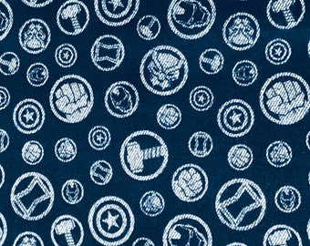 Avengers Hero Symbols Navy Blue Fabric by the yard & other various lengths