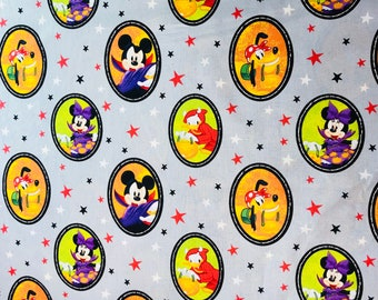 Disney Mickey & Minnie Mouse Halloween Fabric By The Yard and Half Yard and other various lengths
