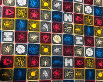Game of Thrones, House Sigils, GoT, fabric by the yard and half yard and other various lengths