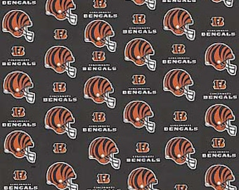 "Cincinnati Bengals NFL Black Fabric in various lengths by 59"" width"