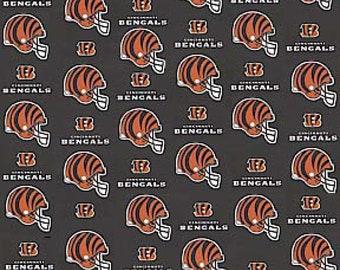 """Cincinnati Bengals NFL Black Fabric in various lengths by 59"""" width"""