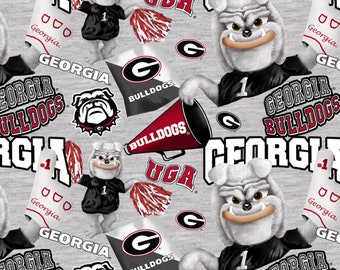 Georgia Bulldogs Digitally Printed fabric by the yard and half yard and other various lengths