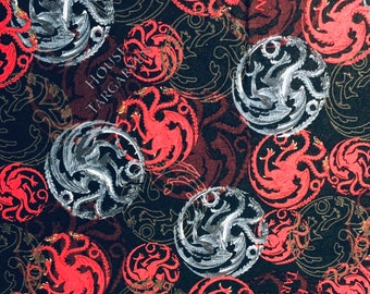 Game of Thrones, House Targaryen, GoT, fabric by the yard and half yard and other various lengths