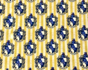 Harry Potter Fabric, Hufflepuff Fabric, 100% Quilting Cotton, Camelot Fabrics, By the yard and half yard and other various lengths