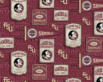 Florida State University Flag & Posters Cotton Fabric in various lengths