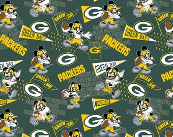 This Will Not Ship Until October 2020, Read Item Details On How To Order, Green Bay Packers and Mickey Mouse fabric in various lengths