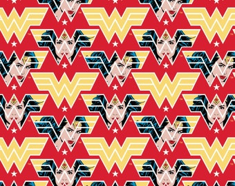 Pre-Order Wonder Woman 1984 Face & Logo Red Fabric by the yard and other various lengths (Pre-Order/Arrival July 2020)
