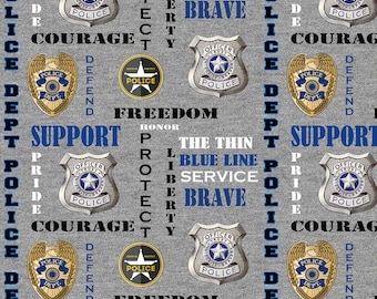 Police Law Enforcement Grey Fabric by the yard and other lengths